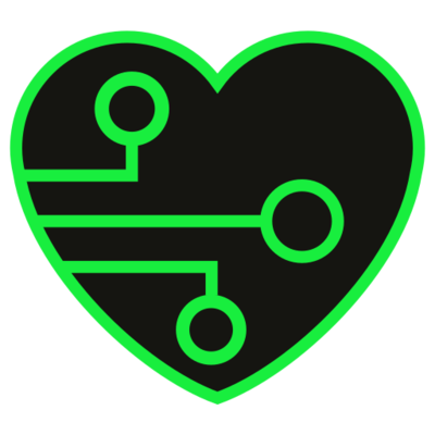 a black heart with a green outline and green circuit pattern