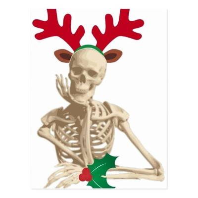 a skeleton with reindeer antlers and mistletoe