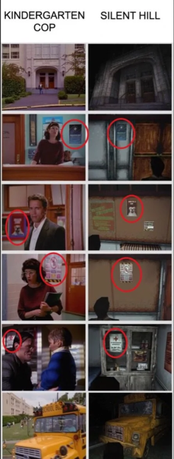 The many similar locations in Silent hill and Kindergarten Cop