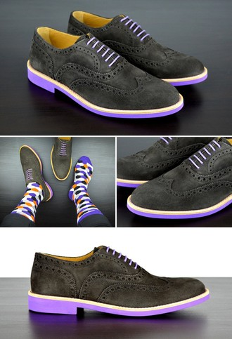 Soxy suede dress shoes with purple laces and soles