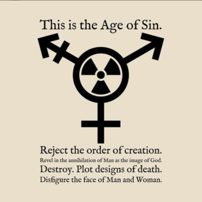 A radiation symbol mixed with the gender symbols saying to reject man as the image of God