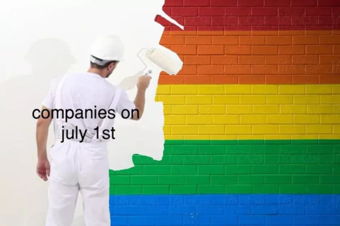 """a man painting a rainbow wall white. the man is labeled """"companies on July 1st"""""""