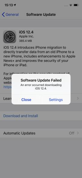 "iOS update error ""software update failed: an error occurred downloading iOS 12.4"""