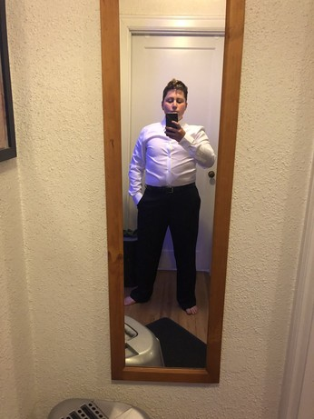 me in dress shirt and trousers