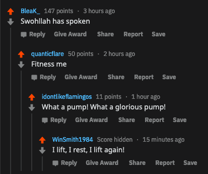 """comments from r/fitness with fitness related mad max fury road references, """"fitness me!"""" """"what a pump! what a glorious pump!"""" """"I lift, I rest, I life again!"""""""