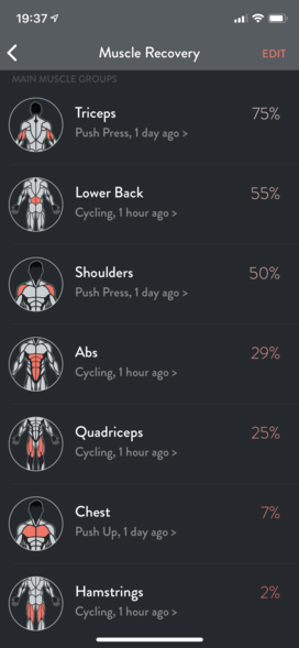 screenshot from the iOS FitBod app showing muscle recovery with abs at 29%, quads at 25%, chest at 7%, and hamstrings at 2% (100% = fully recovered)