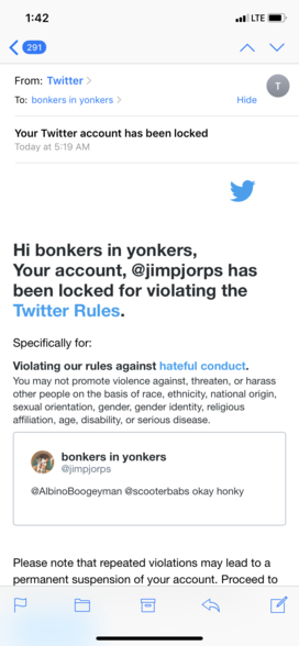 twitter violation report for calling someone a honky