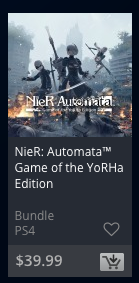 NieR Automata GOTY edition on the Playstation store, but instead of saying Game of the Year, it says Game of the YoRHa